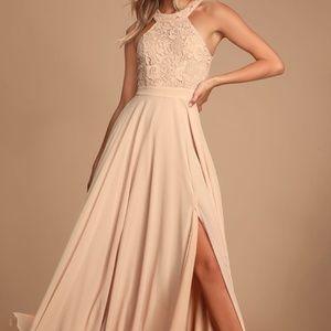 Picture Perfect Blush Lace Maxi Dress